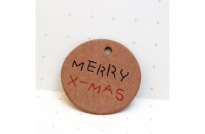 KRAFT ROUND TAGS D30mm MERRY X-MAS SET/50pcs